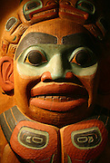 USA, Alaska,Skagway, A close-up of a Tlingit Totem Pole on display at the Skagway Museum.