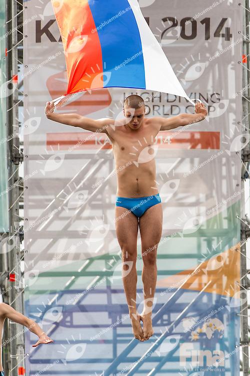 Russina Flag<br /> Opening Ceremony<br /> FINA High Diving World Cup 2014<br /> Kazan Tatartsan Russsia RUS Aug. 8 to 10 2014<br /> Kazanka River  Day01 - Aug.8 <br /> Photo G. Scala/Deepbluemedia