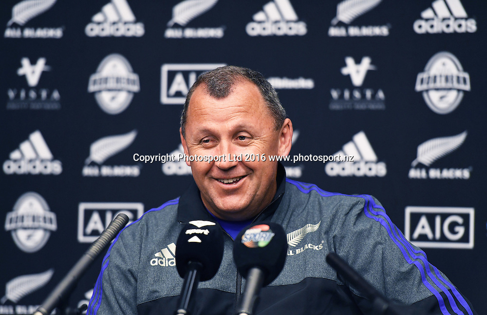 Assistant coach Ian Foster during an All Blacks press conference at the Hyatt Regency Hotel in Chicago, USA. Tuesday 1 November 2016. © Copyright Photo: Andrew Cornaga / www.Photosport.nz
