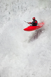 """Kayaker on Silver Creek 17"" - This kayaker was photographed on Silver Creek - South Fork, near Icehouse Reservoir, CA."