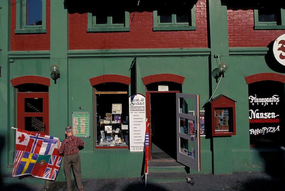 Europe, Norway. Street scenes in downtown Bergen in the Bryggen district