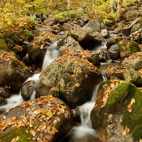 Spring water. Water fall shot with slow shutter speed in autumn