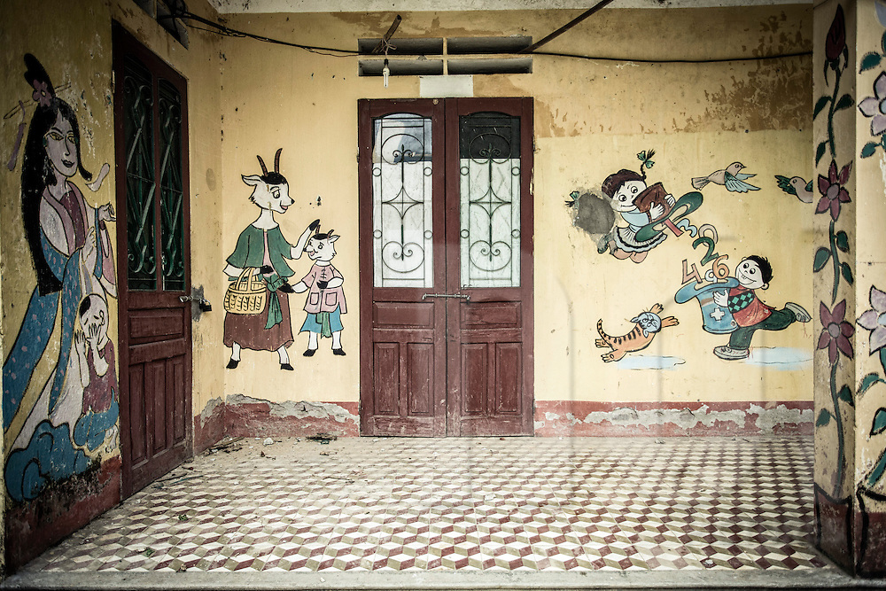 Weathering painted foyer of a school in Thanh Kim Commune, Sapa District, Lao Cai Province, Vietnam, Southeast Asia