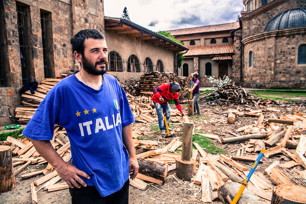 Nicola, volontario OMG, nella sua casa a Pomallucay dove vive con la moglie e 4 figli Chacas, Ancash, Peru. A group of brave Italian volunteers of the no-profit Italian movement OMG, Operazione Mato Grosso, together with their spiritual leader Father Ugo De Censi, fight against poverty and misery in the villages of the Peruvian Andes since 1967, helping these poor people with their hard work. They gave everything for them, they dedicated their life to them, without never asking anything in return. A great life adventure, based on compassion and love.