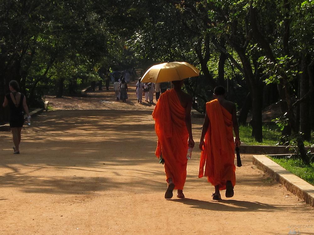 Monks visit Sigiriya, in Sri Lanka's Cultural Triangle