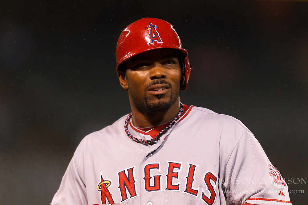 May 17, 2011; Oakland, CA, USA; Los Angeles Angels second baseman Howard Kendrick (47) returns to the dugout during the fifth inning against the Oakland Athletics at Oakland-Alameda County Coliseum. Oakland defeated Los Angeles 14-0.
