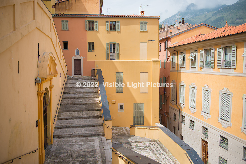 A small plaza and alley in Menton.