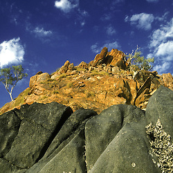 Rocky outcroppings show the extreme tidal levels of the Prince Regent River. Kimberley, W. AUSTRALIA