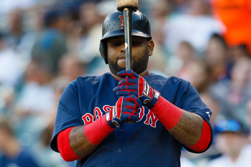 Aug 7, 2015; Detroit, MI, USA; Boston Red Sox third baseman Pablo Sandoval (48) gets set to bat in the first inning against the Detroit Tigers at Comerica Park. Mandatory Credit: Rick Osentoski-USA TODAY Sports