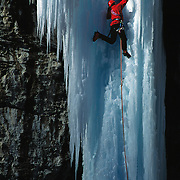 "Mark Twight climbing the frozen waterfall ""Stone Free"" in Rifle Colorado, USA."