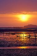 Image of sunset at the Washington coast at Long Beach, Washington, Pacific Northwest