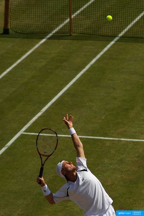 Lleyton Hewitt, Australia in action during his three set victory over Philipp Petzschner, Germany in the third round of the Men's Singles competition at the All England Lawn Tennis Championships at Wimbledon, London, England on Saturday, June 27, 2009. Photo Tim Clayton.