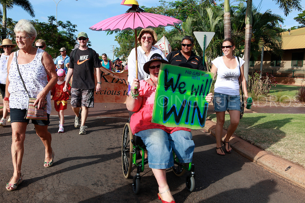 Exclusive at Getty Images.<br /> http://www.gettyimages.com.au/Search/Search.aspx?contractUrl=2&amp;language=en-US&amp;assetType=image&amp;p=ingetje+tadros<br /> BROOME, AUSTRALIA - DECEMBER 10: Broome residents attend 'The Nowhere Else But Here' protest rally, celebrating all that is great about Broome and the Kimberley region, on December 10, 2011 in Broome, Australia. The rally is in response to current plans for oil and gas exploration activity for the Kimberley coast region in far north-west Western Australia, specifically by Woodside Energy Ltd. Plans are underway for various expansions of gas and mining activities, currently centred around the Browse liquefied natural gas development, with future plans including bauxite and iron ore mines, a smelter and additional ports to handle the growth. The gas hub, and future expansion plans, are strongly opposed by local residents concerned about the environmental impact on the wilderness area. (Photo by Ingetje Tadros/Getty Images)