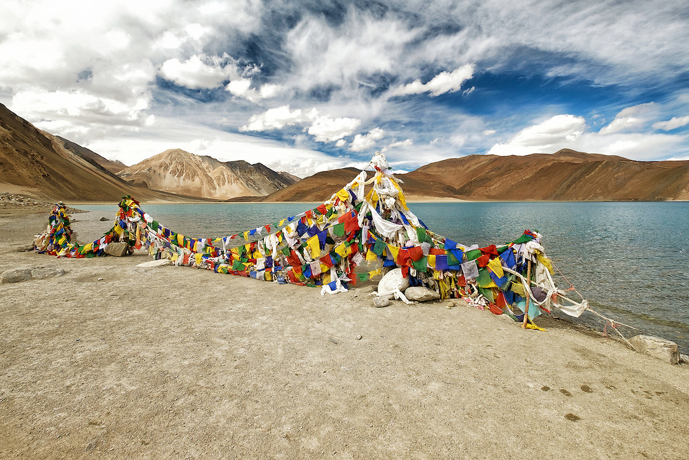 Prayer flags at Pangong Lake of Ladakh
