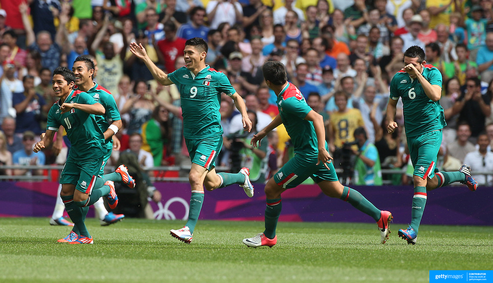 Oribe Peralta, (9) Mexico, celebrates after scoring in the first minute during the Brazil V Mexico Gold Medal Men's Football match at Wembley Stadium during the London 2012 Olympic games. London, UK. 11th August 2012. Photo Tim Clayton