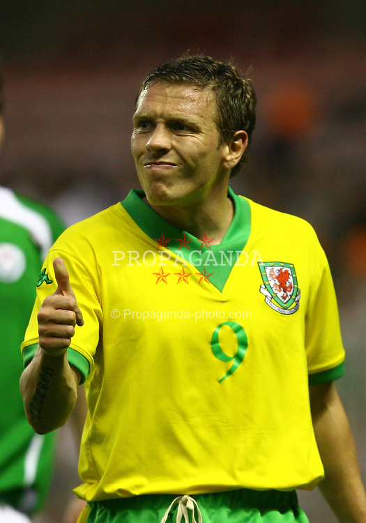BILBAO, SPAIN - SUNDAY, MAY 21st, 2006: Wales' Craig Bellamy gives his team-mates the thumbs up after their 1-0 victory over a Basque Country XI during a friendly match at the Estadio San Mames. (Pic by David Rawcliffe/Propaganda)