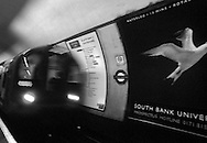 Tube Train on Central Line, London, England.