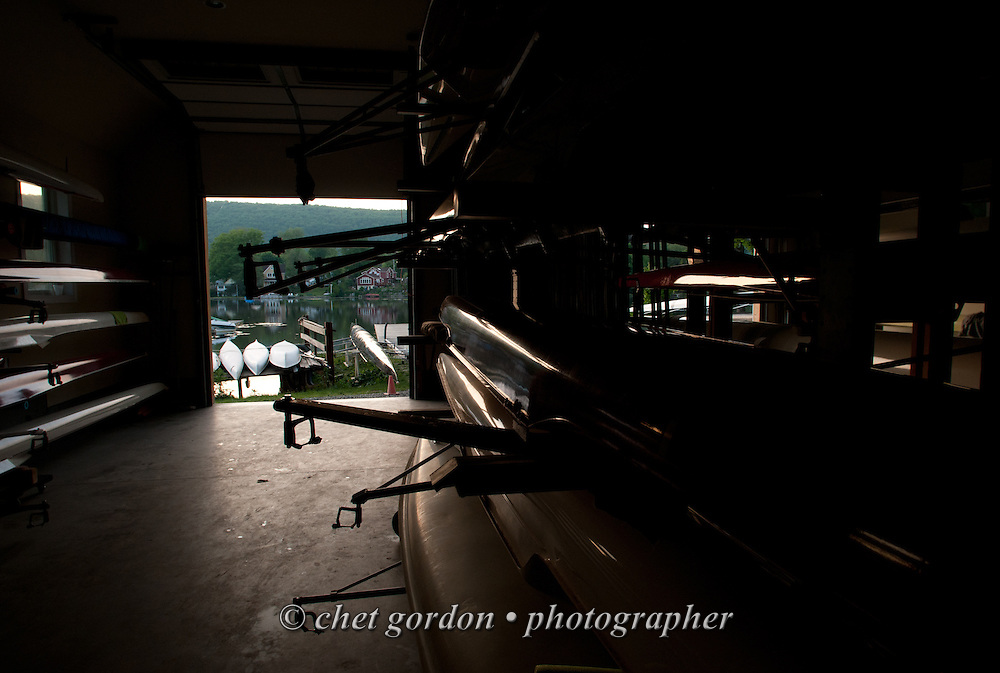 Rowing sculls stored inside the East Arm Rowing Club boathouse in Greenwood Lake, NY on Tuesday, May 26, 2015.  © Chet Gordon/THE IMAGE WORKS