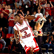 "Western Kentucky's  Antonio Haynes plays to the crowd after a steal and a basket in the Hilltoppers 75-63 win over Eastern Kentucky. aekdb  ""Crowd Pleaser"""