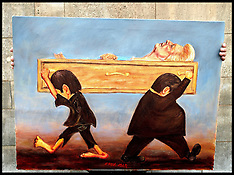 APR 16 2013 Artist Kaya Mar with Lady Thatcher in a coffin