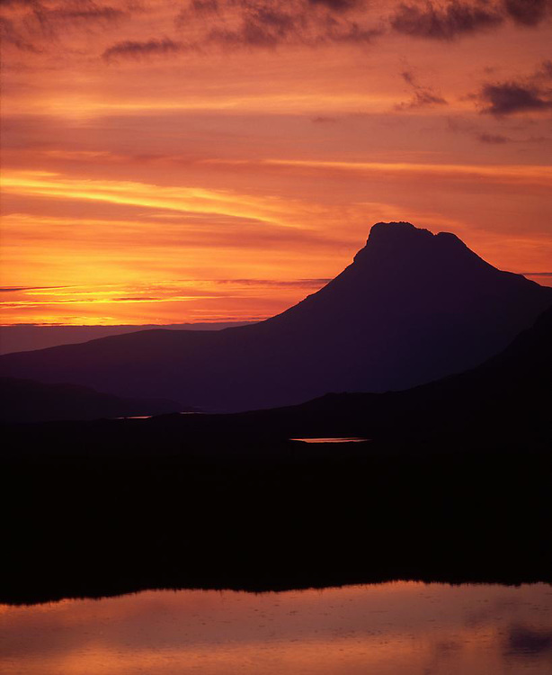 Sunset over Stac Pollaidh and Loch Lurgain,N/W Highlands