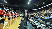 March 22, 2014: San Diego State Aztecs head coach Steve Fisher exits the floor after a third round game of the NCAA Division I Men's Basketball Championship between the 4-seed San Diego State and the 12-seed North Dakota State at Spokane Arena in Spokane, Wash. San Diego State defeated North Dakota State 66-43 to advance to the Sweet Sixteen.