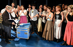 The cast of Half a Sixpence surprise Cameron Mackintosh on his 70th Birthday with a cake and a 'This is Your Life' photo album at The Noel Coward Theatre, St Martin's Lane, London on Monday 17 October 2016