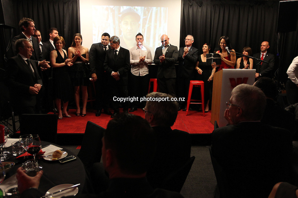NZRL staff pay tribute to outgoing CEO Jim Doyle at the 2012 New Zealand Rugby League Awards at Westpac House, Britomart, Auckland Wednesday, November 7