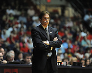 "Illinois State coach Tim Jankovich watches the action against Mississippi in a National Invitational Tournament game at the C.M. ""Tad"" Smith Coliseum in Oxford, Miss. on Wednesday, March 14, 2012. (AP Photo/Oxford Eagle, Bruce Newman)"