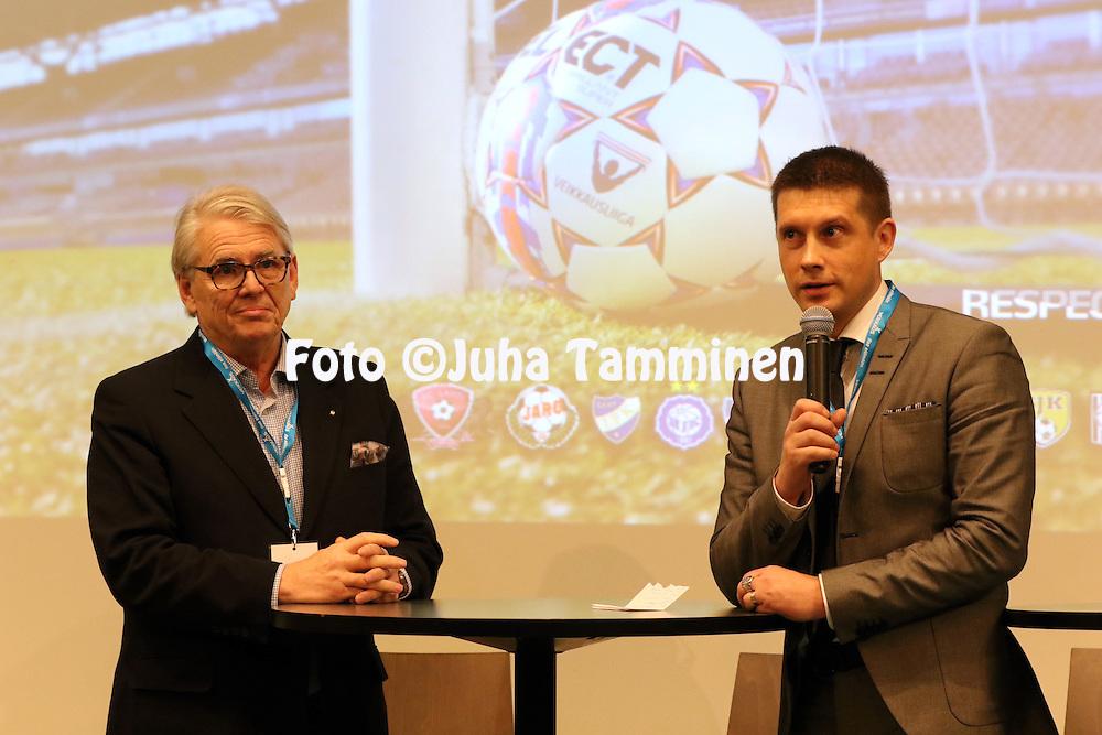 1.4.2015, Helsinki. <br /> Veikkausliigan 2015 Media-avaus.<br /> Veikkausliigan puheenjohtaja Lasse Lehtinen &amp; toimitusjohtaja Timo Marjamaa