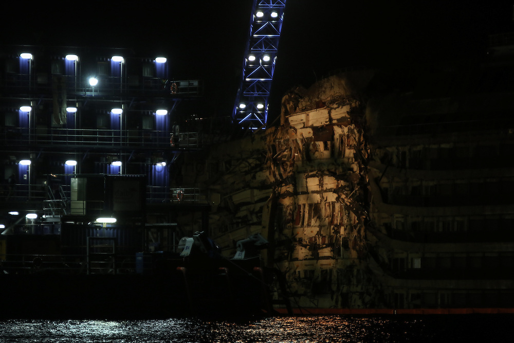 The right side of the Costa Concordia after been submerged for more then one and a half year
