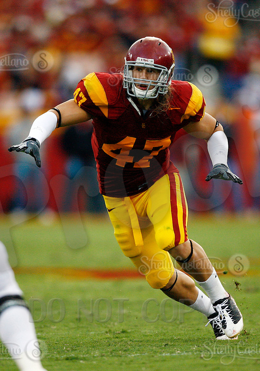 4 October 2008: #47 Clay Matthews.  NCAA College Football Pac-10 conference USC Trojans 44-10 win over the University of Oregon Ducks at the Los Angeles Memorial Coliseum in Los Angeles, California.