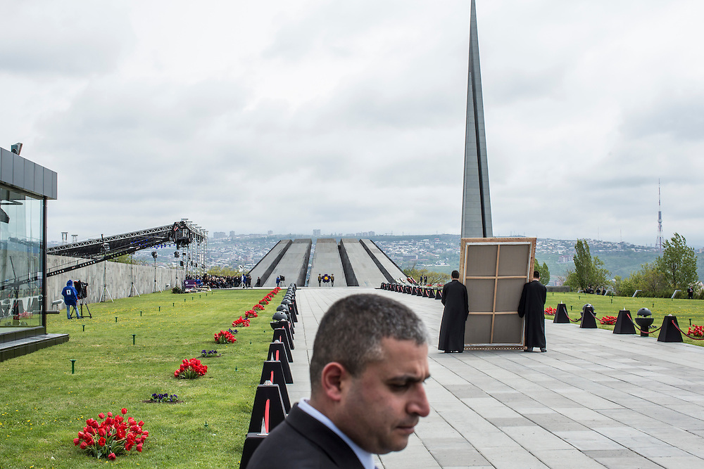 YEREVAN, ARMENIA - APRIL 24: The Armenian genocide memorial during a commemoration ceremony on April 24, 2015 in Yerevan, Armenia. Armenians today are marking the one hundredth anniversary of events generally considered to be the start of a campaign of genocide against minority ethnic Armenians living in present-day eastern Turkey by the Ottoman government over fears of their allegiance during World War I. (Photo by Brendan Hoffman/Getty Images) *** Local Caption ***