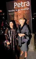 "LEIDEN – The arrival of Princess Beatrix , Princess Sumaya Bint El Hassan off jordania  for the opening of the exhibition "" Petra ,Wonder in the desert "" COPYRIGHT ROBIN UTRECHT"
