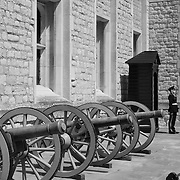 Tower Of London - Jewel House Guard And Canons - London - Black & White