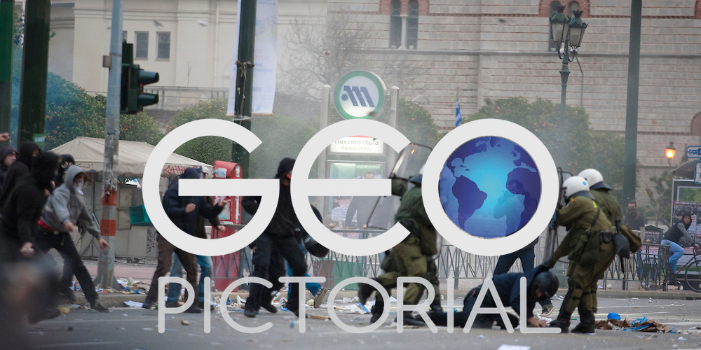 Riots in Athens on the anniversary of the police killing of schoolboy Alexandros Grigoropoulos; Athens, Greece; 6th December 2009;