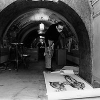 Capitol muralist Cliff Young studies a sketch for use in painting the vaulted ceiling of a U.S. Capitol hallway. Young worked from a scaffold erected in the building.