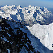 Panorama of climbers ascending the final 250 feet of the Southeast Ridge of Everest as viewed from the top of the Hillary Step, on May 19, 2009.<br />