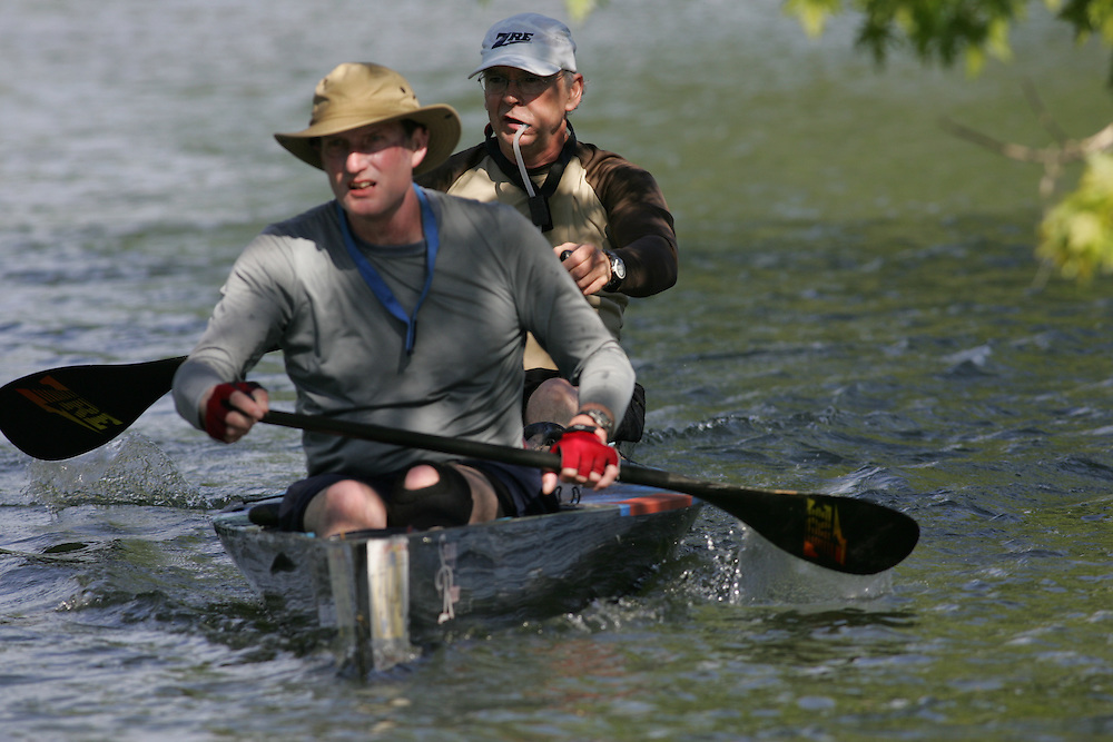 (Cooperstown to Bainsbridge, NY---26 May 2008) The 2008 General Clinton Regatta for Canoes held on 70 miles of the Susquehana River between Cooperstown and Bainsbridge, New York. The boat pictured is