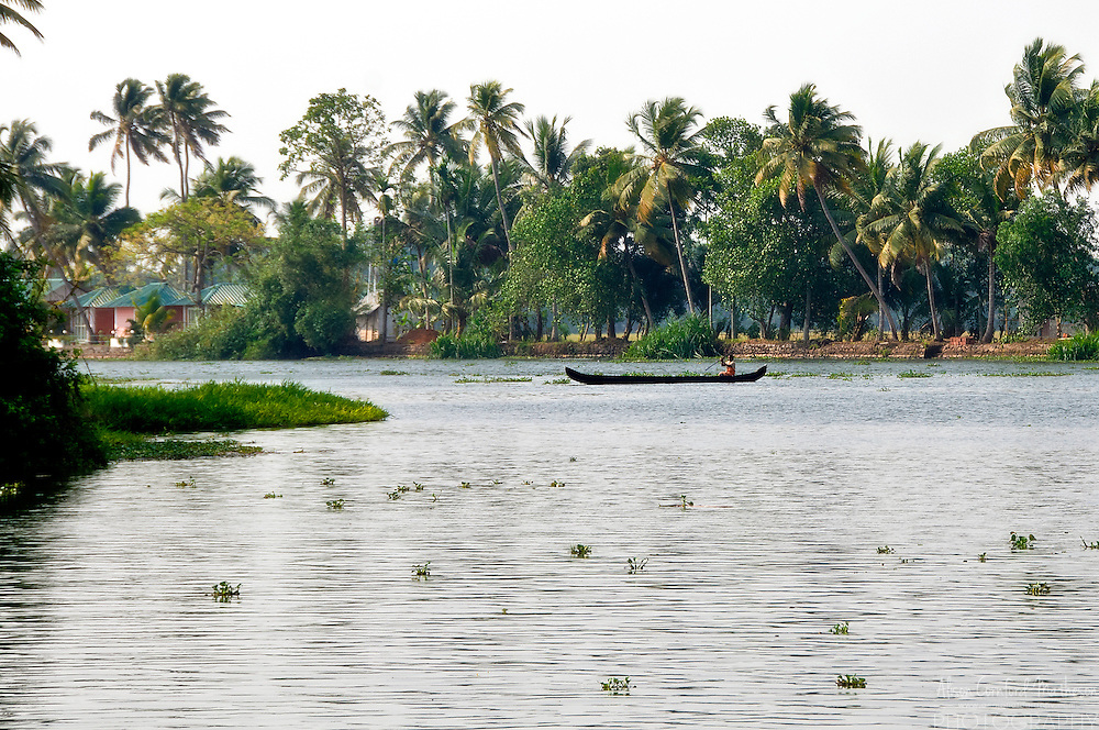 Woman on a boat on the Kerala Backwaters