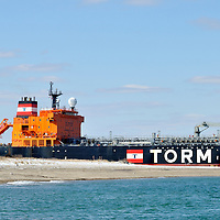 Danish fuel oil tanker the Torm Gertrud passing through the Cape Cod Canal in Massachusetts, USA