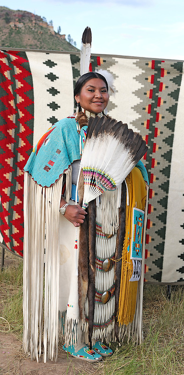 Native American Indian woman, Helena Rosehall, Dancer, Shoshone-Bannock, 4th of July Pow Wow, Lame Deer, Northern Cheyenne Indian Reservation, Montana, USA
