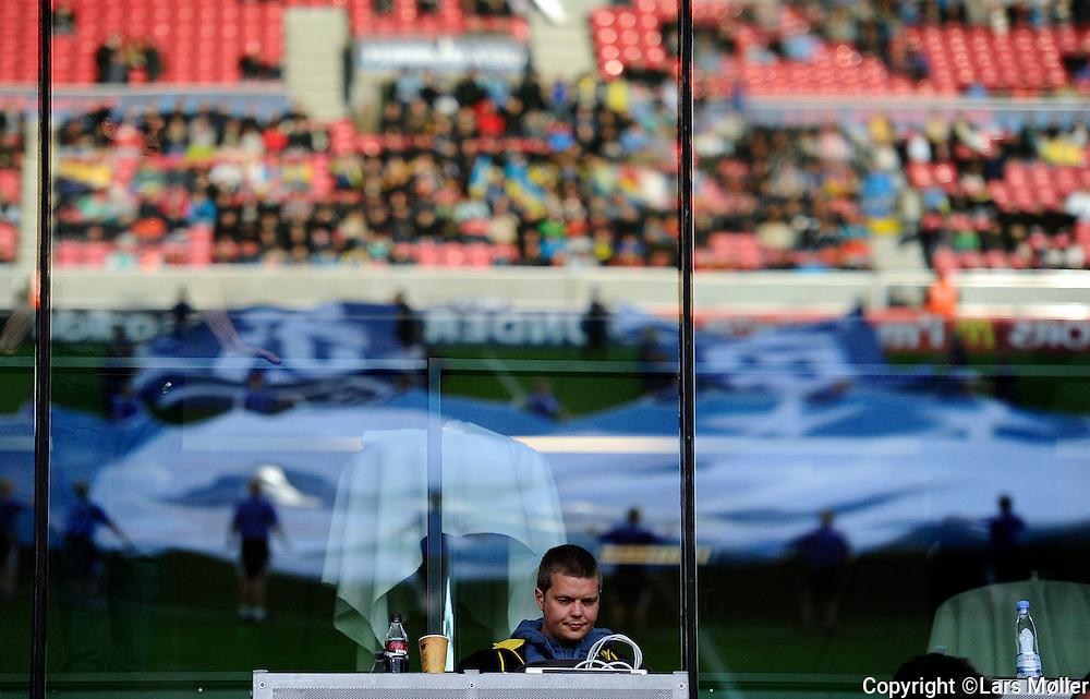 DK Caption:<br /> 20110619, Herning, Danmark.<br /> Fodbold UEFA U21 Euroropamesterskab:<br /> Ukraine-Spanien. Optakt til kamp p&aring; MCH Arena med UEFA flag. Presse folk p&aring; arbejde<br /> Foto: Lars M&oslash;ller<br /> <br /> UK Caption:<br /> 20110619, Herning, Denmark.<br /> Football UEFA U21 European Championship:<br /> Ukraine-Spain. Optakt til kamp p&aring; MCH Arena med UEFA flag. Presse folk p&aring; arbejde<br /> Photo: Lars Moeller