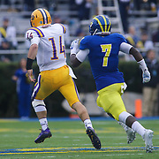 Albany quarterback DJ CROOK (14) rushes 63 yards to the Delaware 23 yard line for first down in the fourth quarter during a week nine  Colonial Athletic Association Conference game between the Delaware Blue Hens and the Albany Great Danes Saturday, Nov. 07, 2015 at Tubby Raymond Field at Delaware Stadium in Newark, DE.
