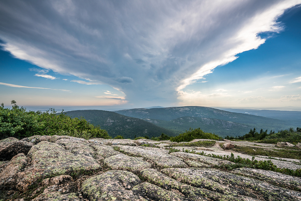 We stopped at the Blue Hill Overlook to photograph this impressive cumulonimbus cloud filling the sky above Cadillac and the surrounding mountains.