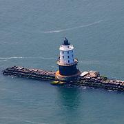 Aerial View of Harbor Of Refuge (South) Breakwater Lighthouse, Bay, Breakwater, Delaware,