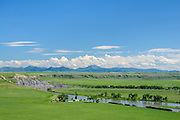 Missouri River, farmland and Highwood Mountains view from scenic overlook on Highway 87 south of Fort Benton, Montana.