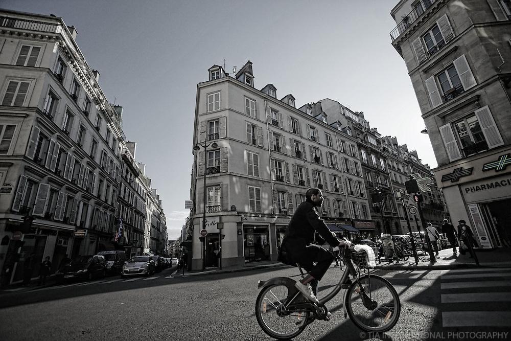 Cyclist in Pigalle, Paris