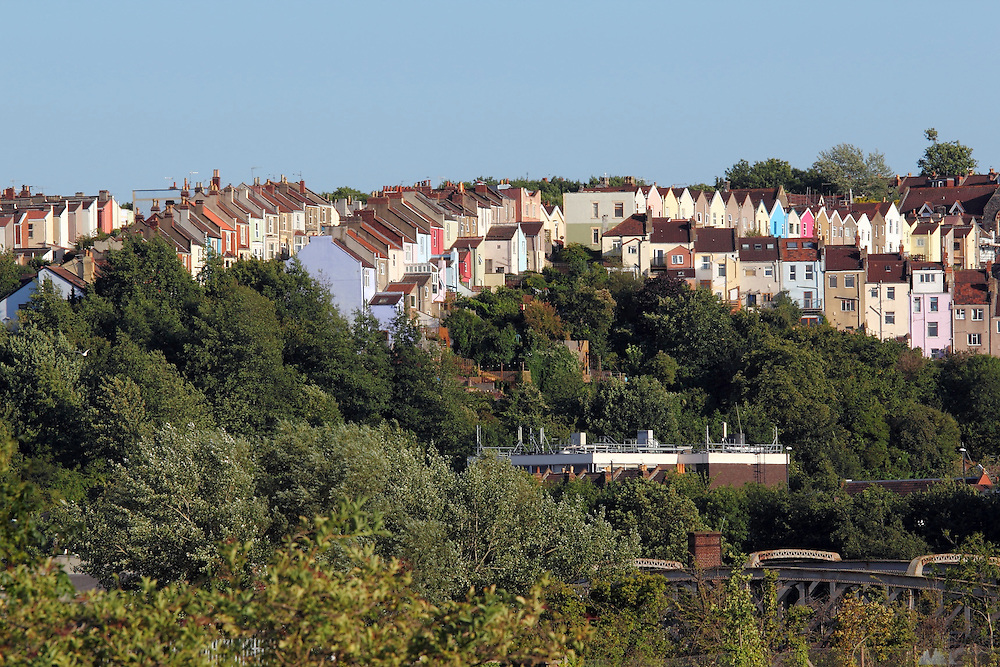 Coloured terraced houses line the streets in Bristol's Hotwells district