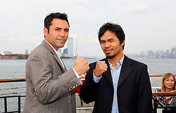 October 1, 2008; New York, NY, USA;  Oscar De La Hoya (l) and Manny Pacquiao (r) pose at the press conference announcing their December 6, 2008 fight.  The two fighters will meet at the MGM Grand Garden Arena.